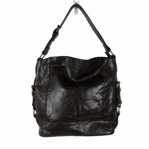Nino Bossi Chocolate Pebbled Leather Shoulder Bag